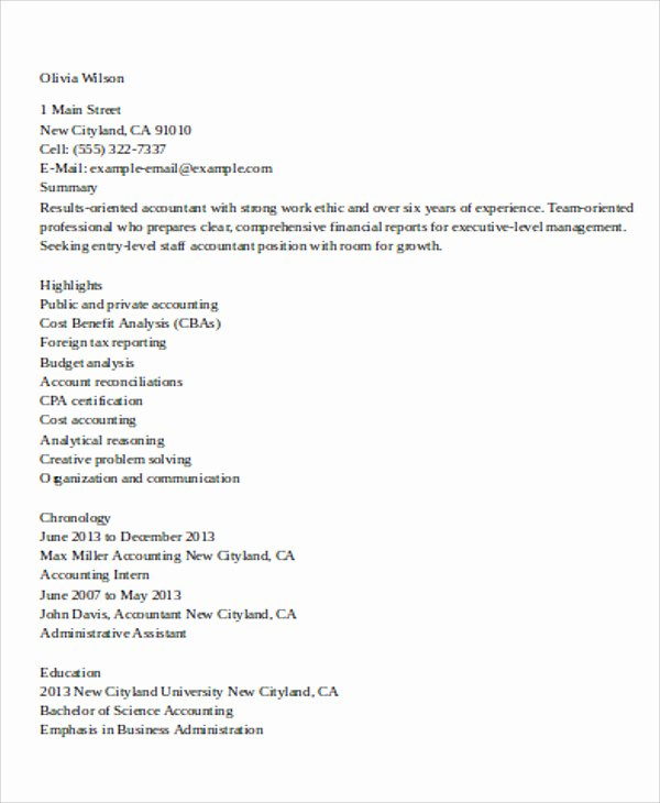 Staff Accounting Resume Samples