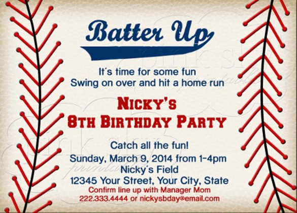 15 Baseball Birthday Invitations Psd Vector Eps Ai