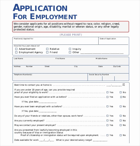 15 Employment Application Templates – Free Sample