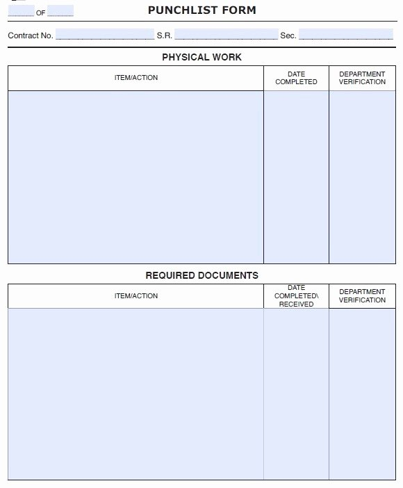 15 Free Construction Punch List Templates Ms Fice Documents