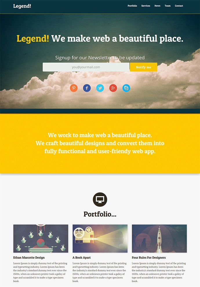 15 Free E Page HTML & Psd Website Templates