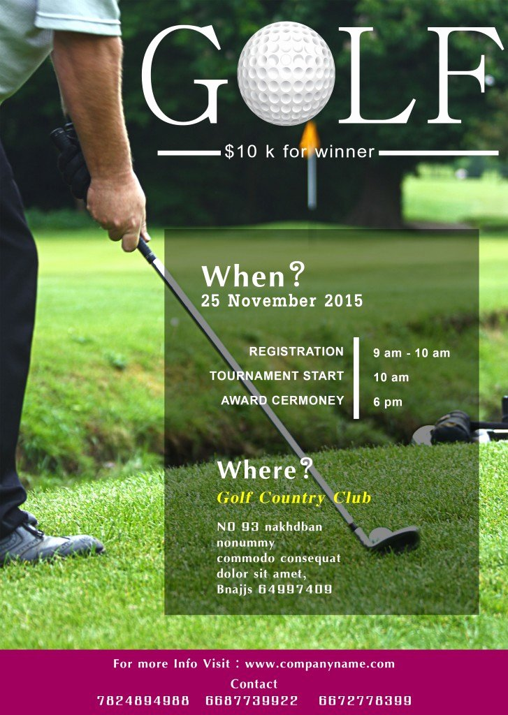 15 Free Golf tournament Flyer Templates Fundraiser