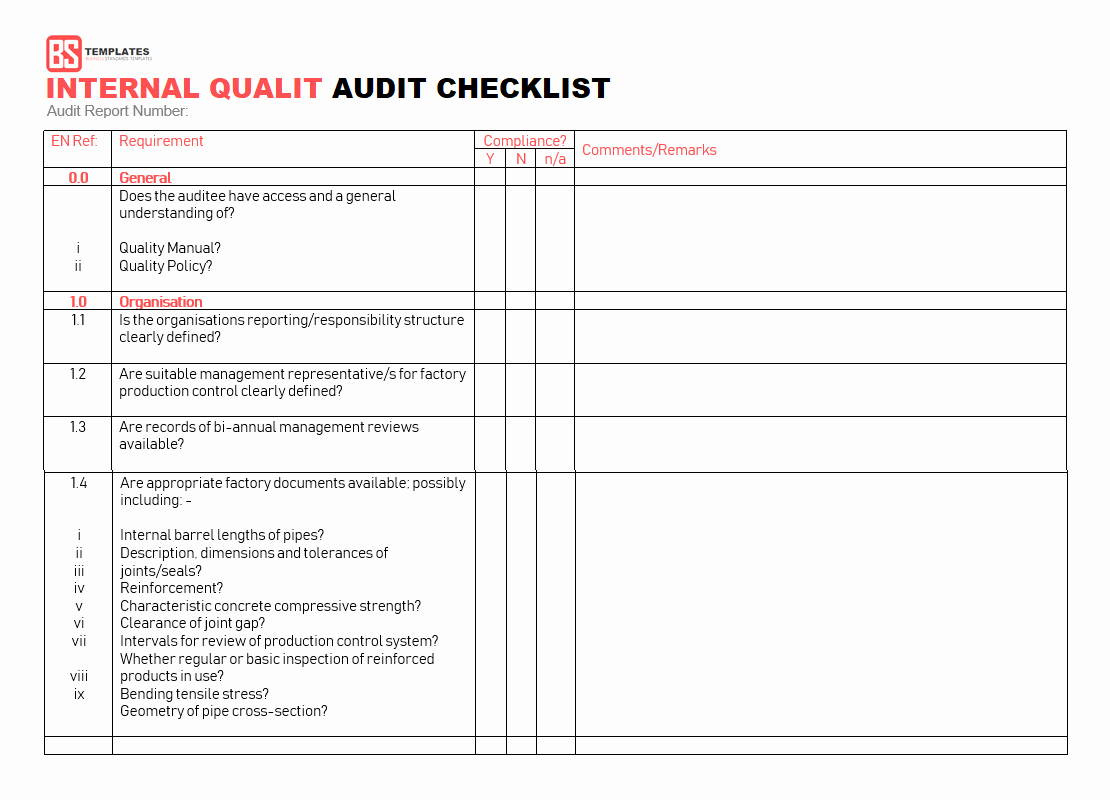 15 Internal Audit Checklist Templates Samples Examples