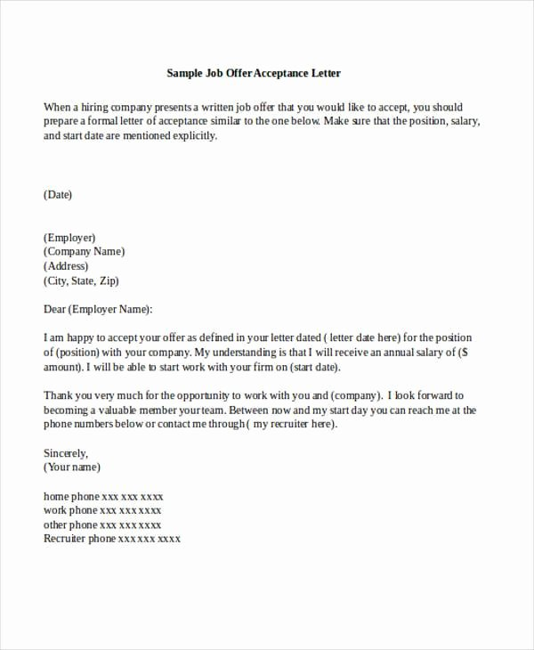 15 Job Acceptance Letters