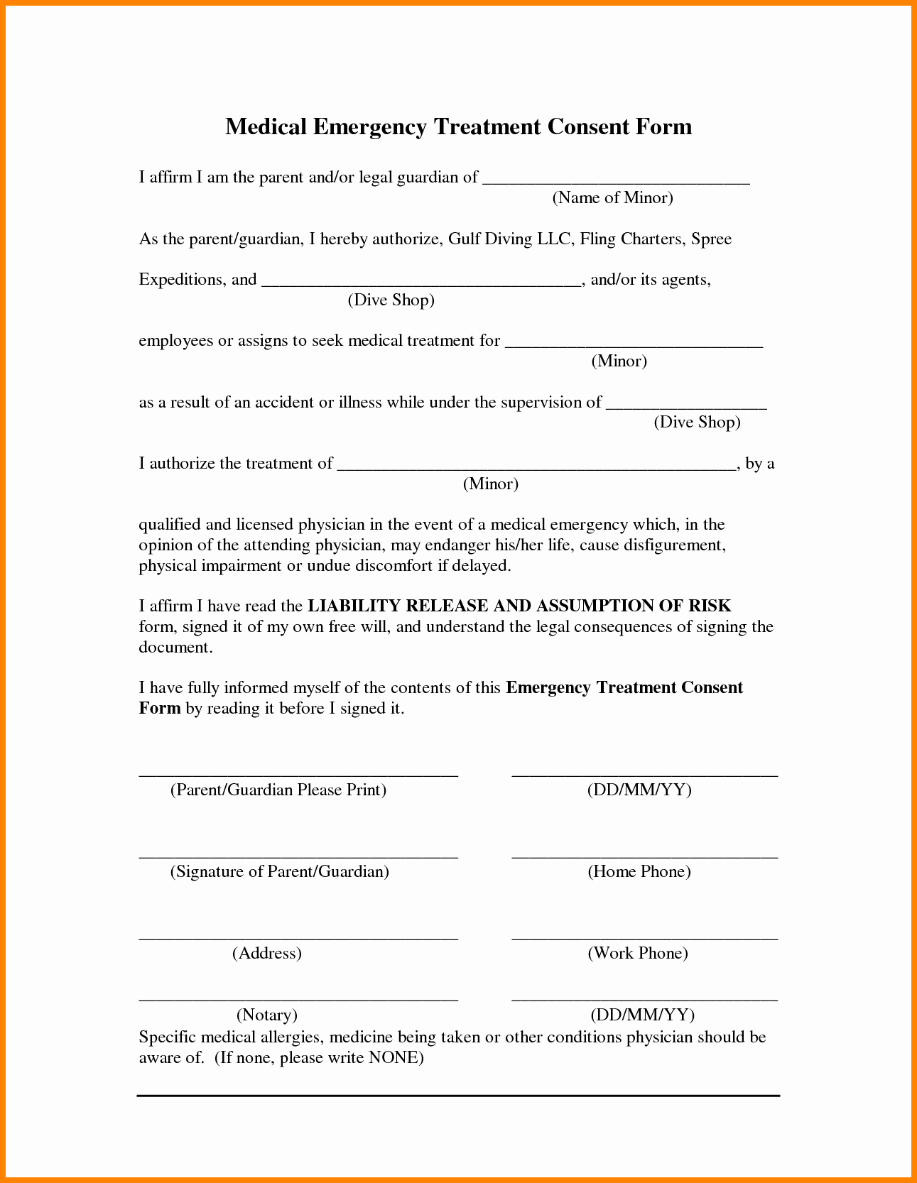 15 Medical Consent form Template for Minors
