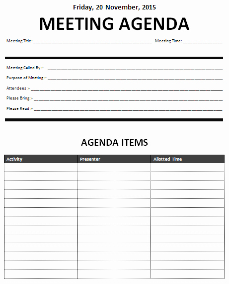 15 Meeting Agenda Templates Excel Pdf formats