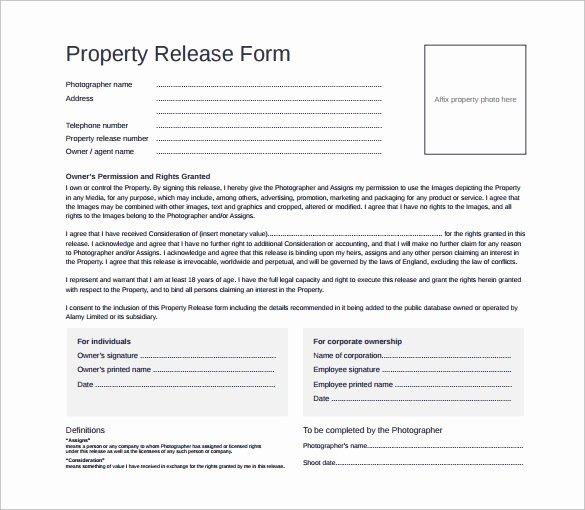 15 Property Release forms to Download for Free