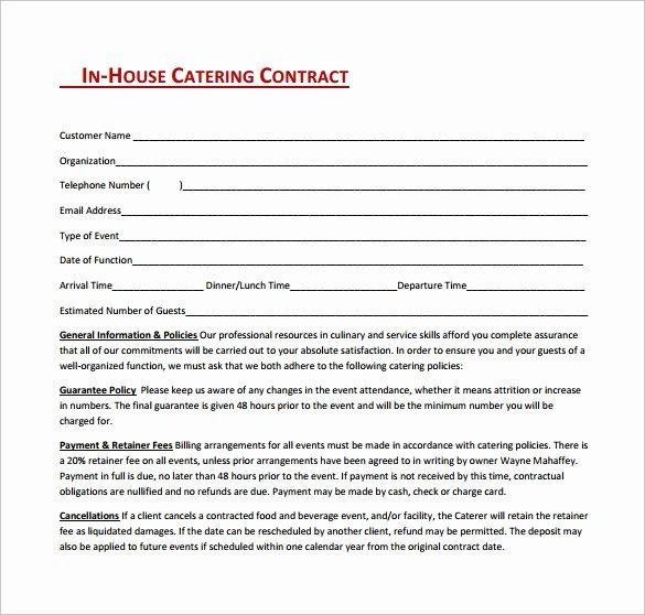 15 Sample Catering Contract Templates – Pdf Word Apple
