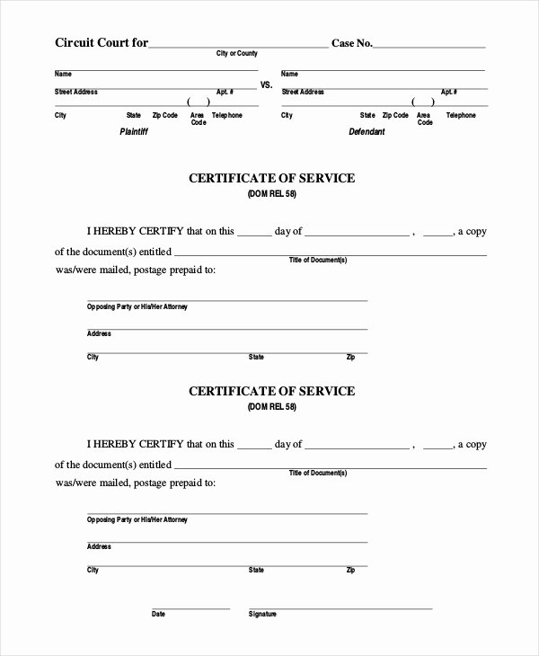 15 Sample Certificate Of Service forms