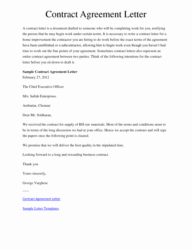 15 Sample Letters Agreement Sample Letters Word