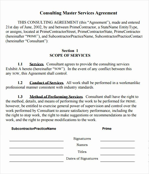 master service agreement template