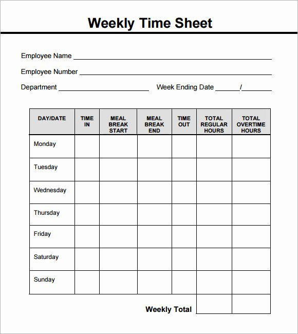 15 Sample Weekly Timesheet Templates for Free Download