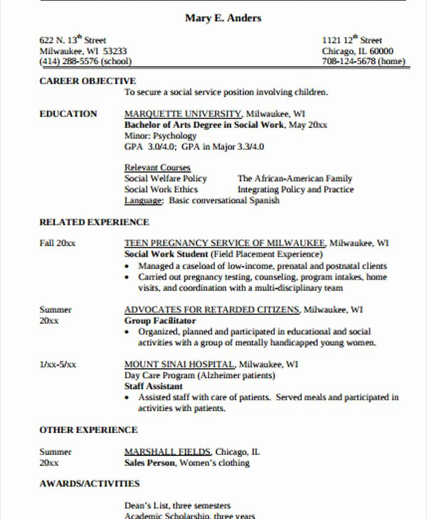 15 Work Resume Templates Pdf Doc
