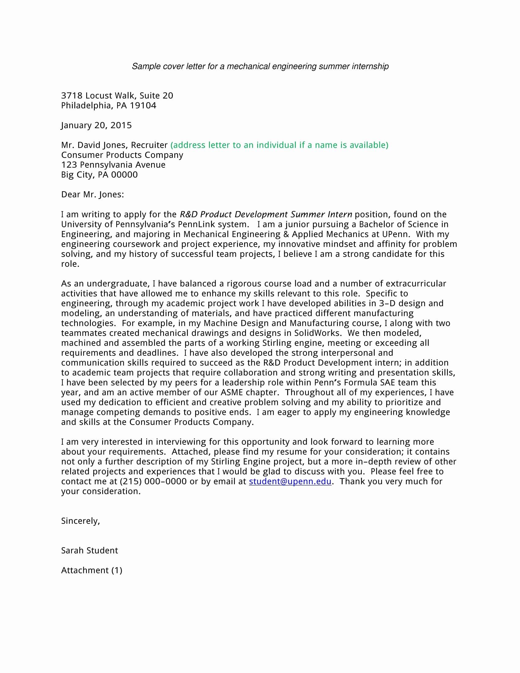 16 Best Cover Letter Samples for Internship Wisestep
