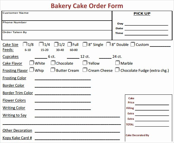 16 Cake order form Templates
