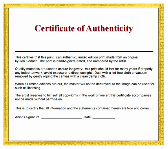 16 Certificate Of Authenticity Samples