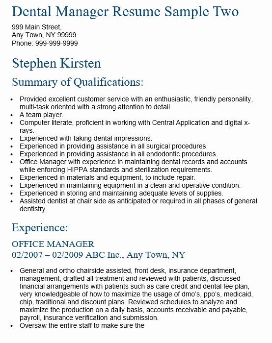 16 Free Sample Dental Manager Resumes Best Resumes 2018