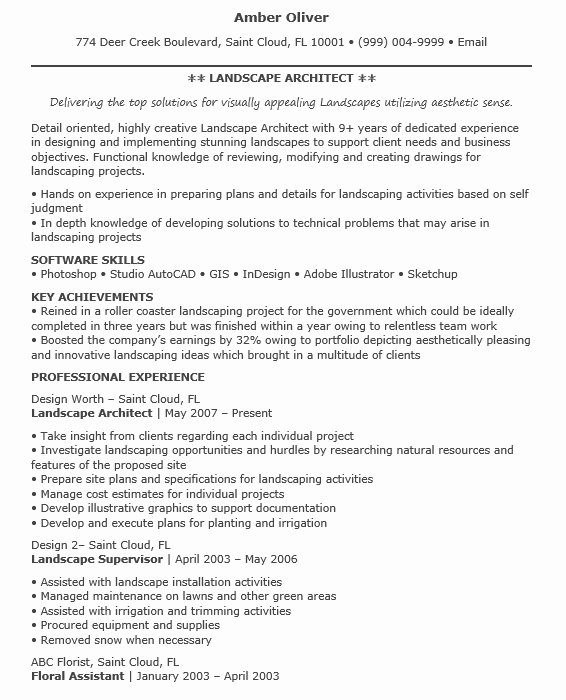 16 Free Sample Landscape Architect Resumes Best Resumes 2018