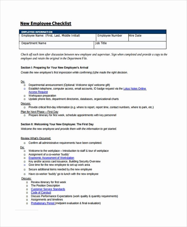 16 New Employee Checklist Templates