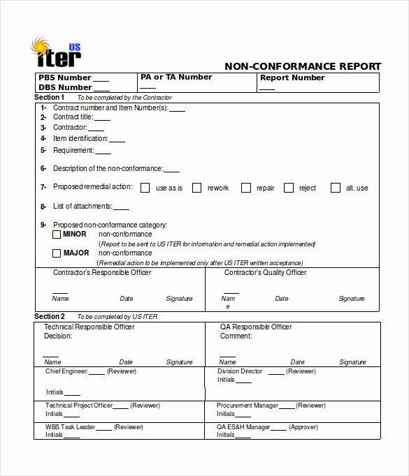 16 Non Conformance Report Templates Pdf Doc Word