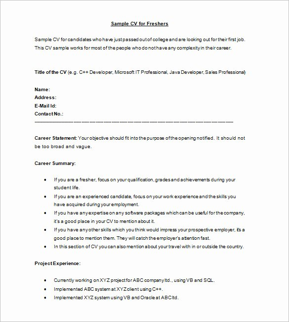 16 Resume Templates for Freshers Pdf Doc