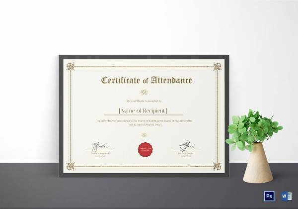 16 Sample attendance Certificate Templates to Download