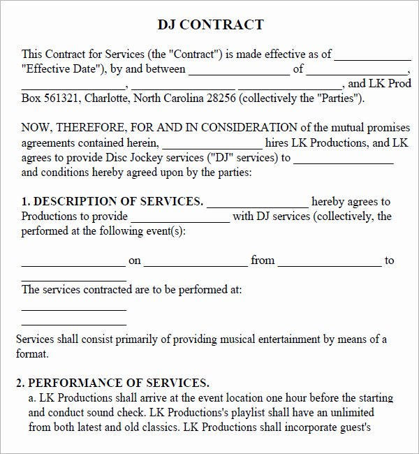 16 Sample Best Dj Contract Templates to Download