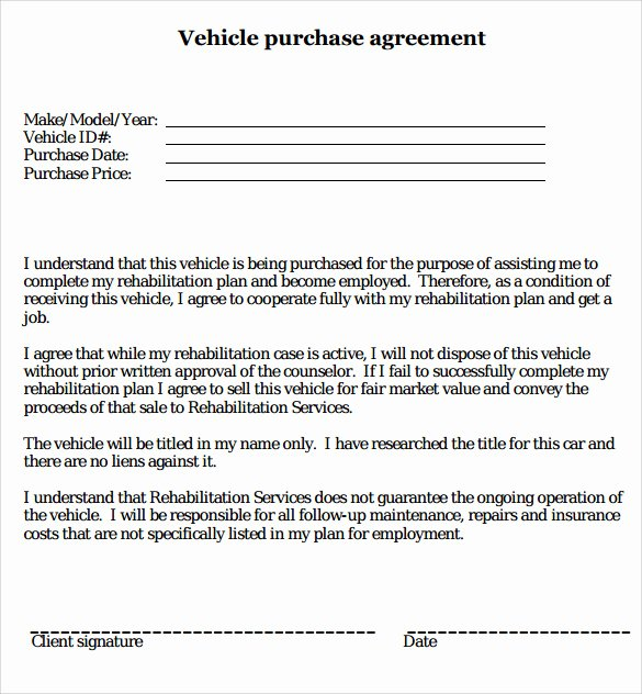 16 Sample Vehicle Purchase Agreements