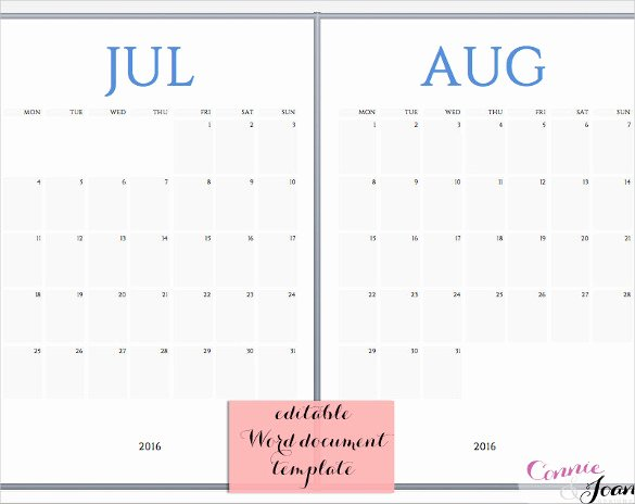 16 Word Calendar Templates Free Download