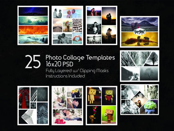 16x20 Collage Templates Pack 25 Psd Templates