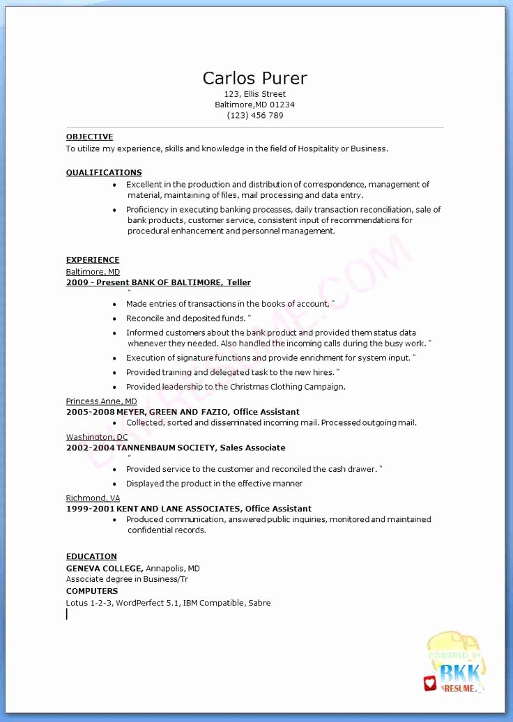 17 Bank Teller Resume Objectives