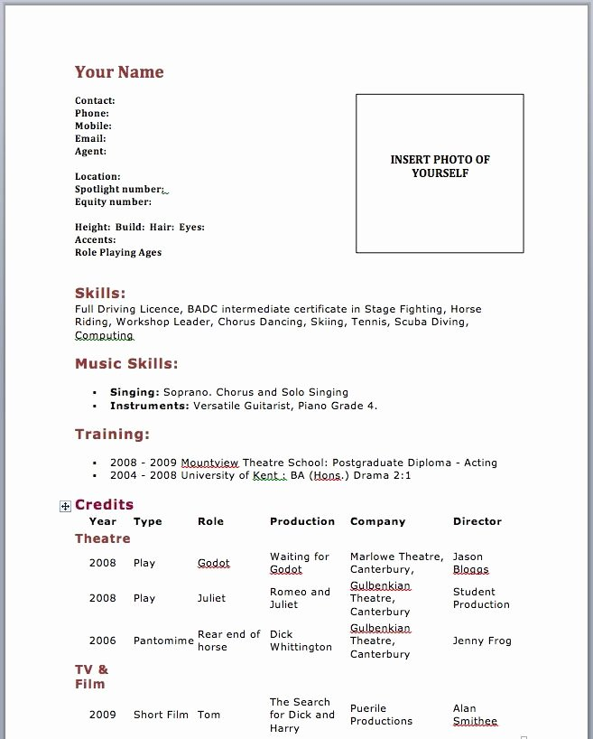 17 Best Ideas About Acting Resume Template On Pinterest