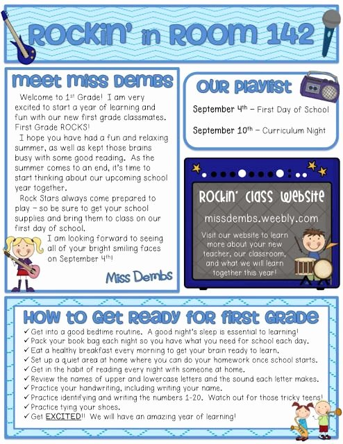 17 Best Images About First Grade Newsletters On Pinterest