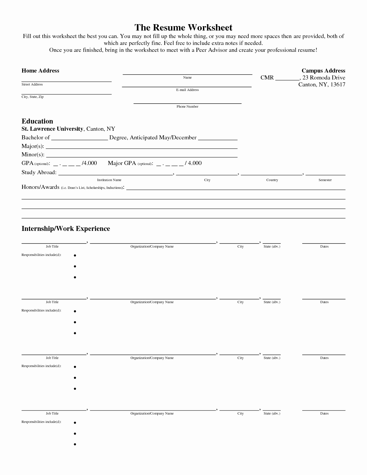 17 Best Of Creating A Resume Worksheet Fill In