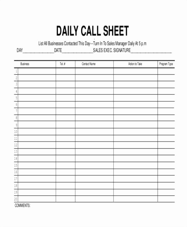 17 Call Log Templates In Pdf