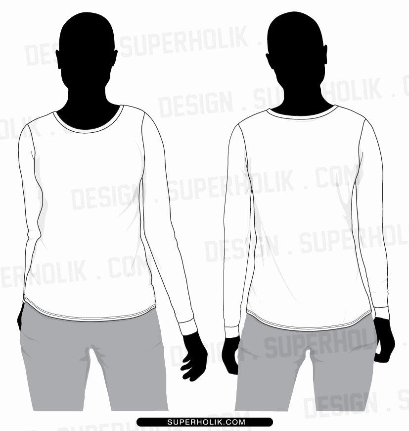 17 Long Sleeve Tee Shirt Design Template Vector