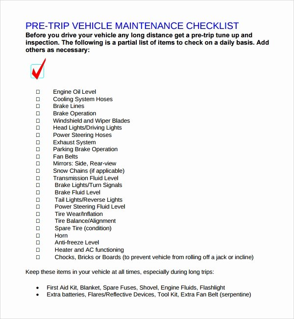 17 Maintenance Checklist Templates – Pdf Word Pages