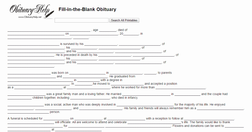 17 Obituary Template Samples