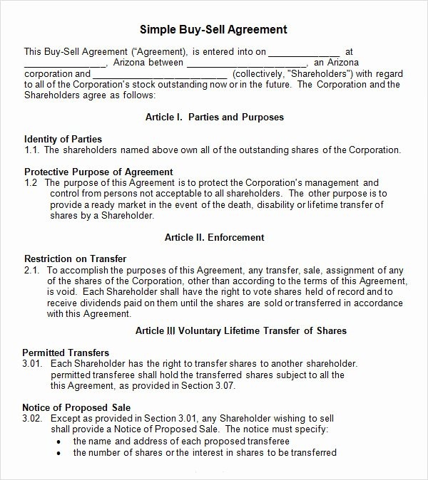 17 Sample Buy Sell Agreement Templates