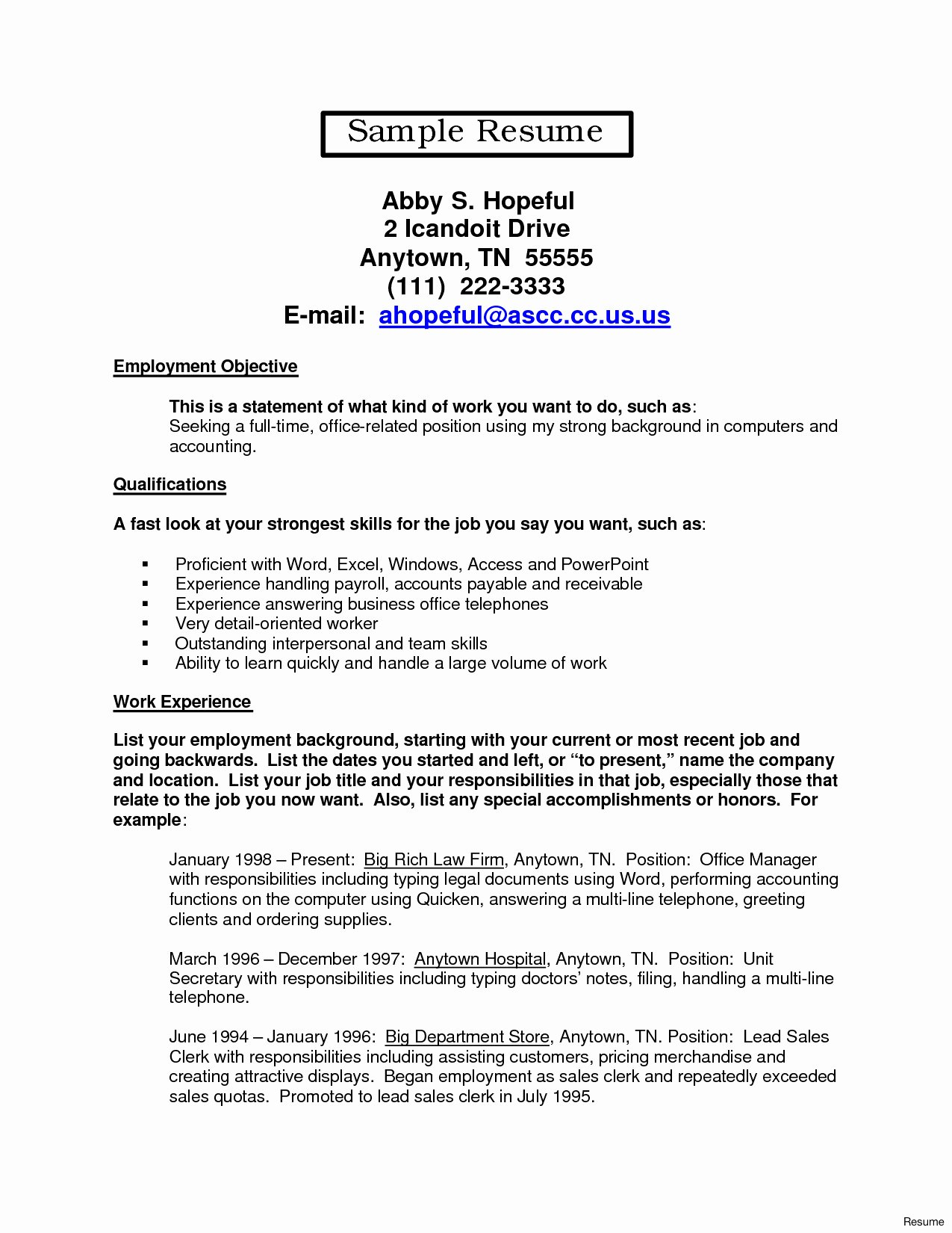 17 Sample Resume for Unit Secretary In A Hospital