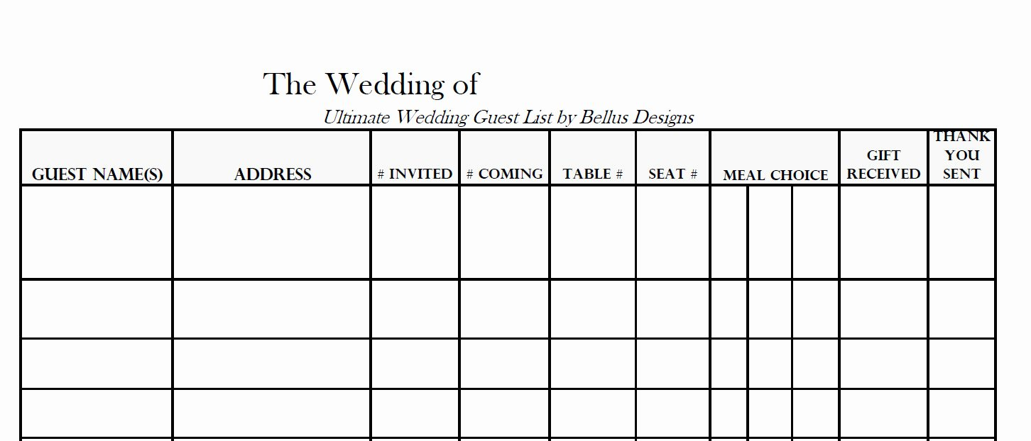 wedding guest list format free