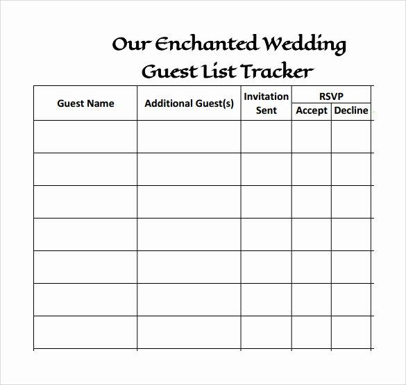 17 Wedding Guest List Templates – Pdf Word Excel