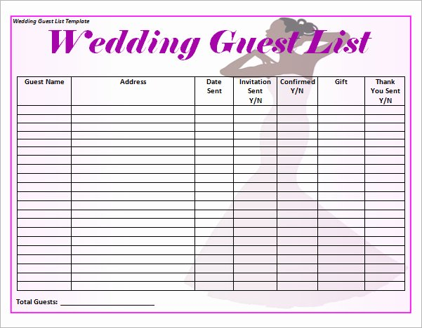 17 Wedding Guest List Templates – Pdf Word Excel