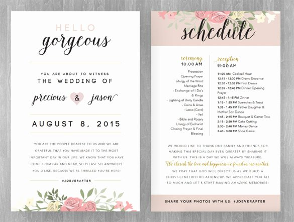 17 Wedding Schedule Templates Free Sample Example