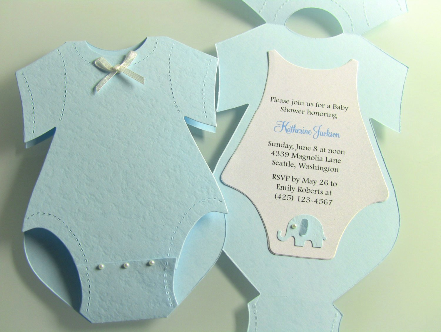 17 Yellow Esie Baby Shower Invitations Grey Elephant White