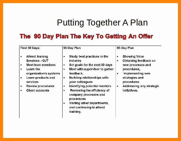 18 30 60 90 Day Plan Example