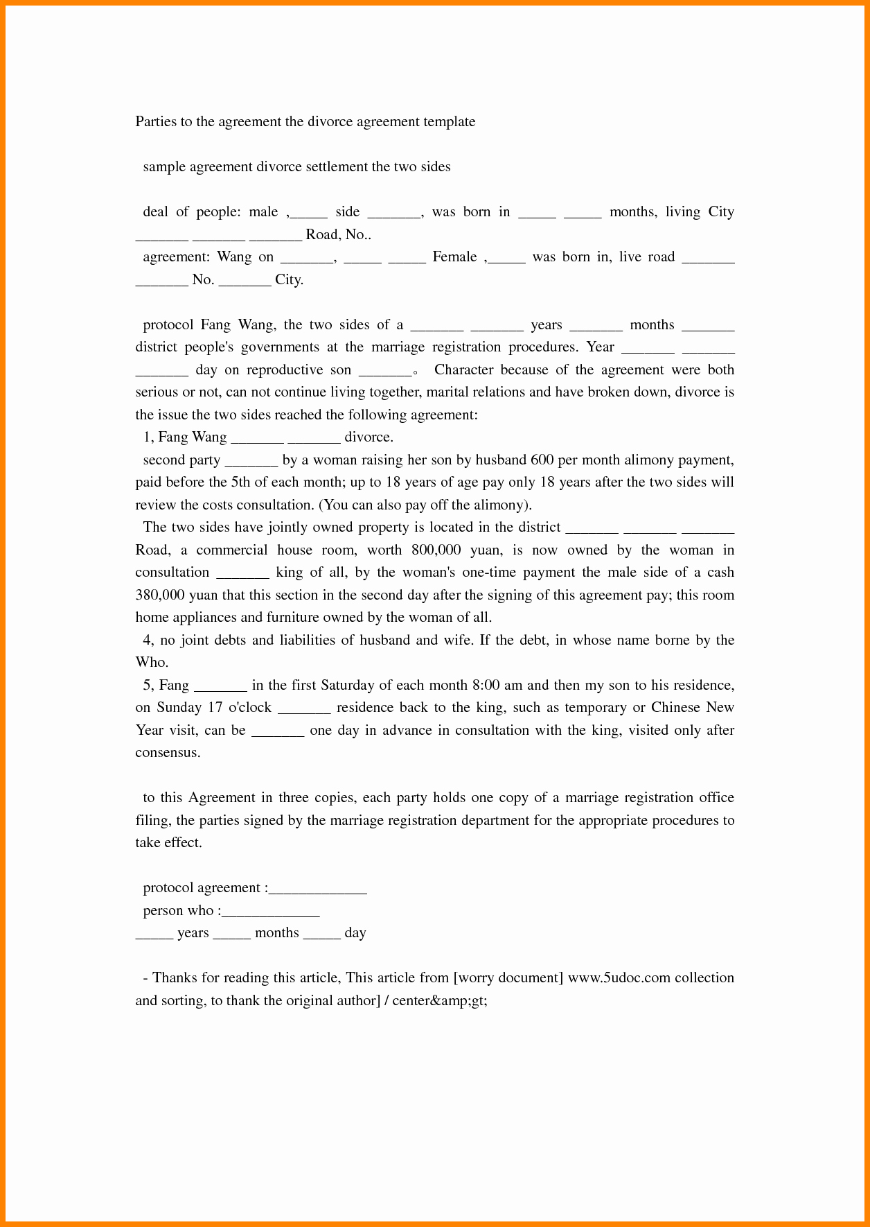 18 Best Divorce Settlement Agreement Letter Sample Pics