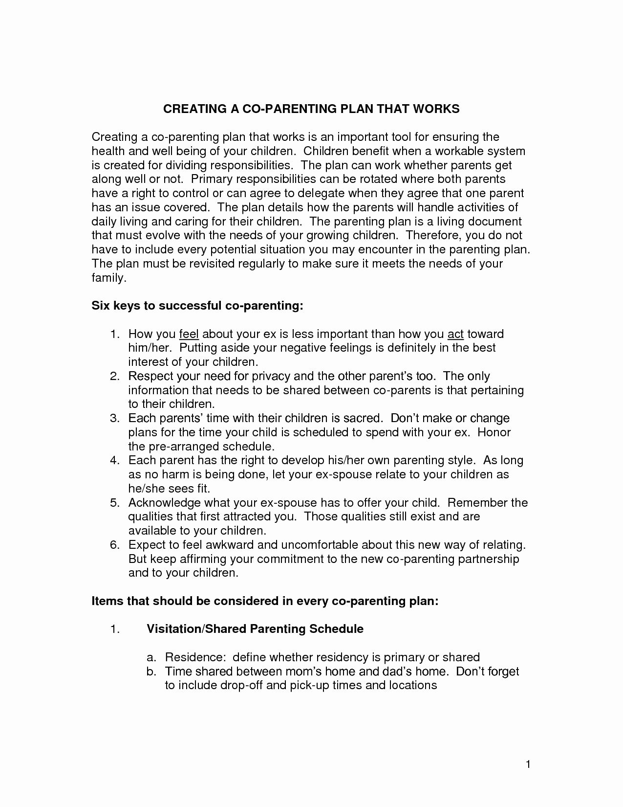 18 Best Of Co Parenting Plan Worksheet Co