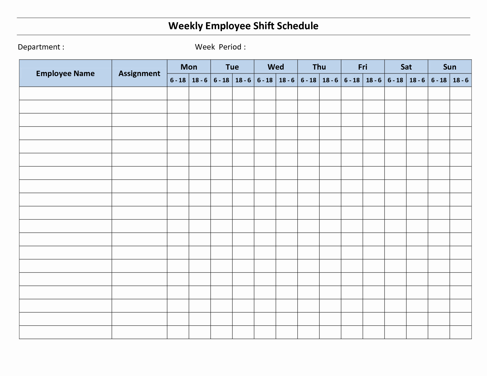 18 Blank Weekly Employee Schedule Template Blank