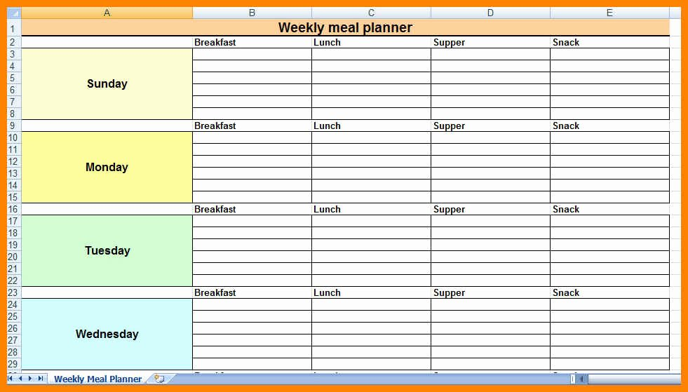 18 Excel Meal Plan Template